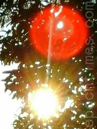 太阳上边出现包着红色光球,比较上图,可发现光球的位置改变了。(图:大法弟子/大纪元)