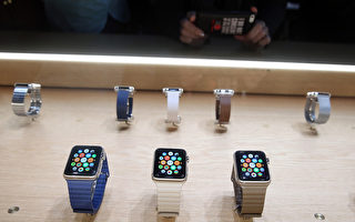圖為2015年3月9日在加州舉行的春季發布會上,蘋果手錶首次公開亮相,並宣布於4月10日開始預售,4月24日發貨。(Justin Sullivan/Getty Images)