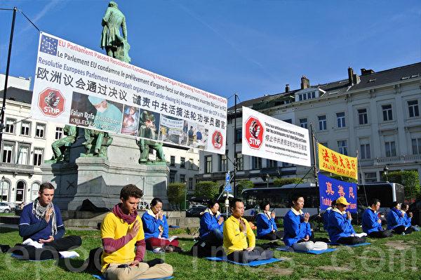 在研討會舉辦的同一時間,來自歐洲多個國家的部份法輪功學員在歐洲議會大樓外舉行活動。(蕭依然/大紀元)