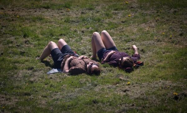 2015年4月22日,英国布兰登公园繁花盛开,情侣躺卧在草地上。(Matt Cardy/Getty Images)