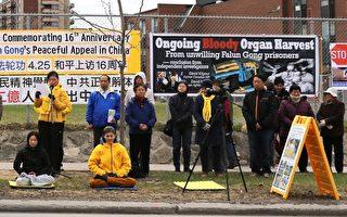 渥太華法輪功學員中使館前集會紀念4.25上訪16週年。(梁耀/渥太華)