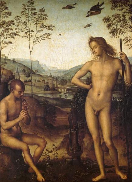 《阿波罗与达夫尼》(Apollon et Daphnis)Années 1490,油画于木板,39 x 29 cm,巴黎卢浮宫藏。图片来源:Musée Jacquemart André 提供。