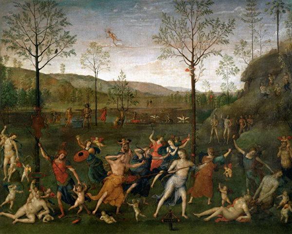 《爱欲与贞节的交战》(Le Combat de l'Amour et de la Chasteté )1502-1505,蛋彩于帆布,160 x 191 cm,巴黎卢浮宫收藏。图片来源:Musée Jacquemart André提供