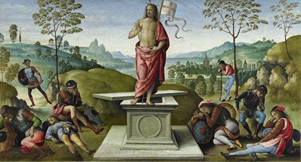 """《复活》属于佩鲁吉诺绘""""圣彼得多折画屏""""部分(La Résurrection (polyptyque de San Pietro) ,1496-1500 ,油画于木板,32 x 59,5 cm 卢昂艺术博物馆。图片来源:Musée Jacquemart André 提供。"""