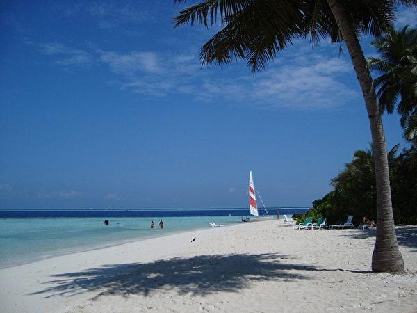 马尔代夫群岛湛蓝清澈的海水,银白的沙滩,碧绿的椰树和灿烂的阳光。(yuqinxin/大纪元)
