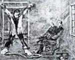 马三家劳教所酷刑:上大挂。(作者提供)