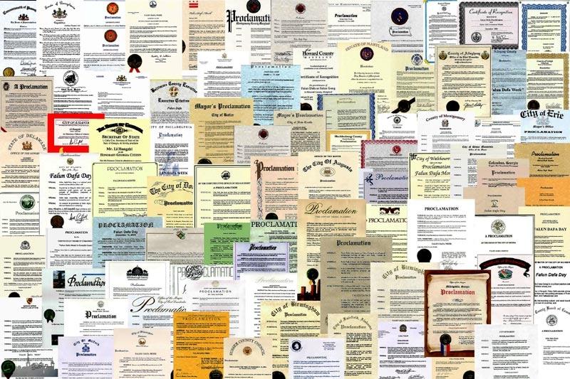 李洪志先生榮獲各國政府和國際機構授予法輪功的褒獎高達數千份,人們由衷感謝法輪功給世界帶來「真、善、忍」的光芒。(明慧網)