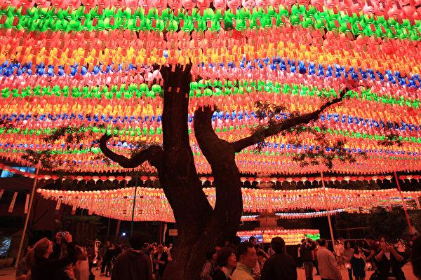 2015年5月16日,韩国首尔,寺庙庆祝佛祖的诞辰,挂着五颜六色的祈福彩灯。(Chung Sung-Jun/Getty Images)