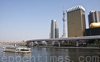 坐落在偶田川河边的日本东京新标记建筑物――晴空塔(卢勇/大纪元)