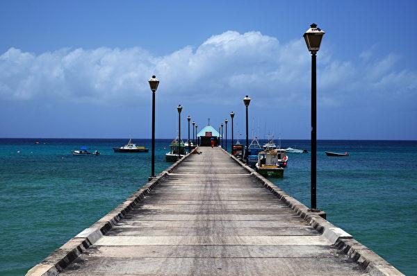 渔船停靠在巴巴多斯的布里奇码头。(JEWEL SAMAD/AFP)