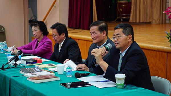 5月23日下午,時事評論家陳破空先生與郭寶勝牧師應邀在紐約台灣會館進行以「台美關係與蔡英文訪美」為主題的時事座談會。發言者為郭寶勝牧師。(謝東延/大紀元)