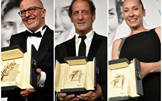 导演雅克‧欧迪亚(Jacques Audiard)与演员文森特‧林顿(Vincent Lindon)、艾曼纽埃尔•贝尔科(Emmanuelle Bercot)三位法国影人拿下大奖。(Getty Images/大纪元合成)