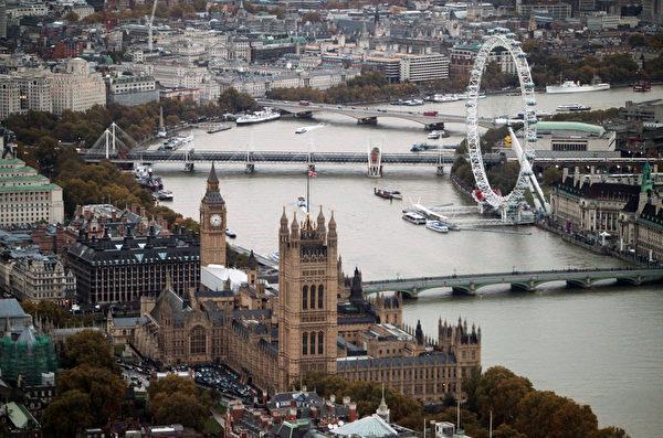鸟瞰泰晤士河畔伦敦市(Oli Scarff/Getty Images)