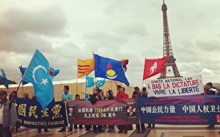 5月31日,法國多個民運團體在巴黎人權廣場上舉行了「六四」26週年紀念活動。(大紀元)
