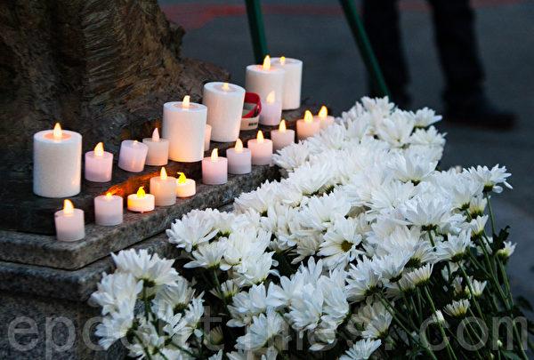 6月3日晚,舊金山各界民眾在中國城的花園角舉辦題為「從未忘記,永不放棄」的六四26週年紀念燭光晚會。(馬有志/大紀元)