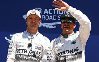 F1加拿大站,梅赛德斯车队再一次轻松包揽前两名,汉密尔顿(右)力压队友罗斯伯格夺得冠军。(Mark Thompson/Getty Images)