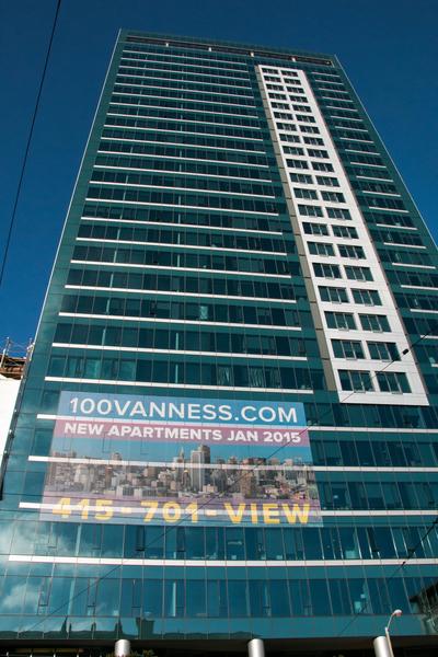 100 Van Ness公寓楼。(李圆明/大纪元)