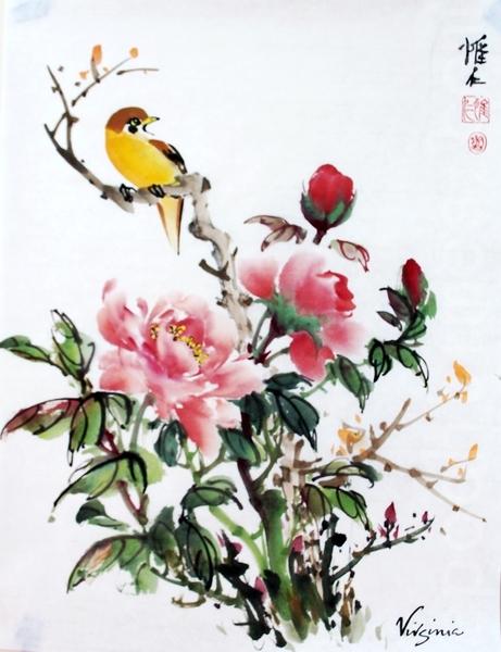 唯仁畫作—牡丹小鳥。(曹鶯飛/大紀元)