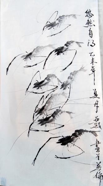 蔡唯敏當場創作的《悠然自得》(曹鶯飛/大紀元)