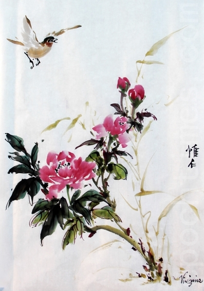 唯仁當場創作的牡丹小鳥圖。(曹鶯飛/大紀元)