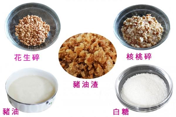 花生碎、核桃碎、猪油、猪油渣、白糖拌匀成甜馅料。(彩霞/大纪元)