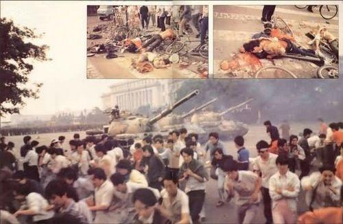 「六四事件」坦克橫衝天安門廣場驚人圖片 。(網絡圖片)