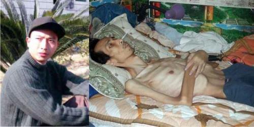 長沙銷售經理陳建中被勞教迫害前後的照片對比。(明慧網)