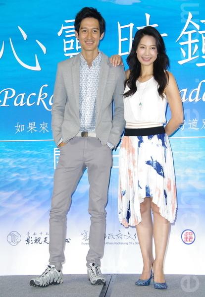 電影《心靈時鐘》於2015年7月9日在台北舉行開拍記者會。圖為唐治平(左)、丁寧。(黃宗茂/大紀元)