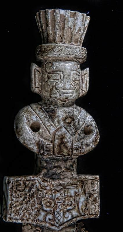 美国佐治亚州2014年发现的中国古剑的剑柄和剑格(护手)部分(反面)。(原住民研究基金会提供)