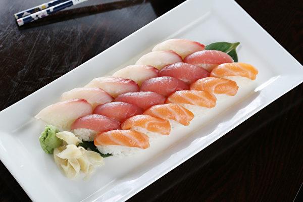 吞拿鱼、三文鱼寿司。(张学慧/大纪元)