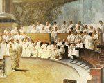羅馬夫人宮(意大利參議院所在地)內的壁畫,呈現了羅馬元老院進行終極議決的場面。(維基百科公共領域)