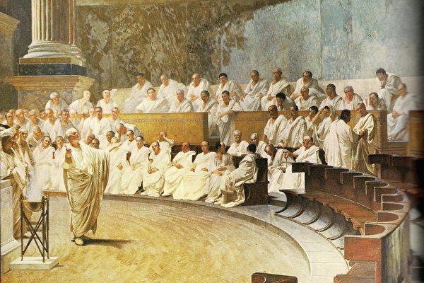 罗马夫人宫(意大利参议院所在地)内的壁画,呈现了罗马元老院进行终极议决的场面。(维基百科公共领域)