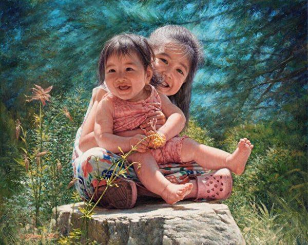 魏榮欣油畫作品《燦爛的笑》(新唐人全世界華人人物寫實油畫大賽入選獎)。(魏榮欣)