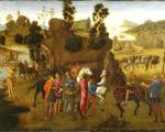 意大利文藝復興畫家弗朗切斯卡所繪《愷撒渡過盧比孔河》,呈現了愷撒從吹金號的神奇人物那裡領受神諭、渡河前進羅馬的故事。英國維多利亞與阿爾貝特美術館收藏。(公共領域)