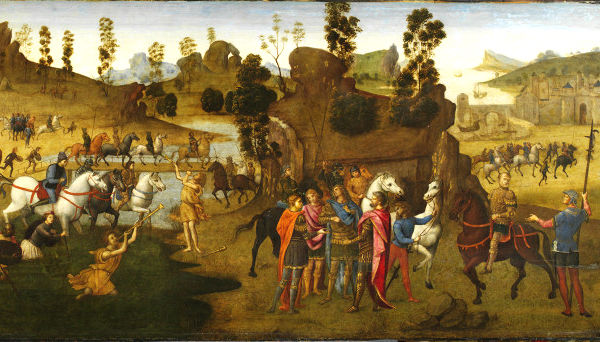 意大利文艺复兴画家弗朗切斯卡所绘《恺撒渡过卢比孔河》,呈现了恺撒从吹金号的神奇人物那里领受神谕、渡河前进罗马的故事。英国维多利亚与阿尔贝特美术馆收藏。(公共领域)