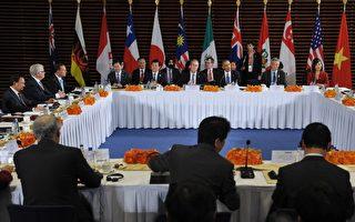 TPP的12個成員國代表本週三(7月29日)將赴夏威夷,就協議展開最後一輪談判。圖為美國總統奧巴馬與TPP協定成員國領袖於2014年11月10日在他訪華之際於北京舉行會談。 (MANDEL NGAN/AFP/Getty Images)