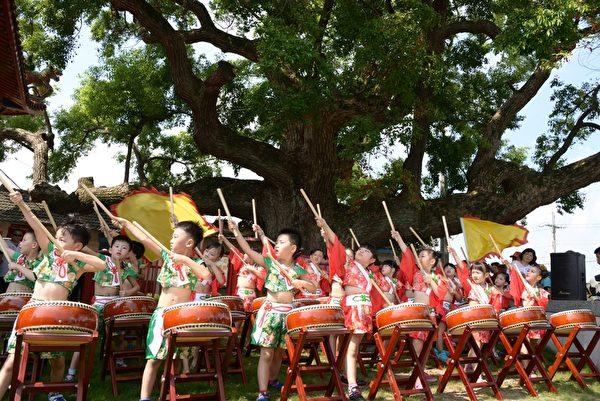 莿桐幼儿园小朋友在百年老树下表演精彩的太鼓。(云林县府提供)