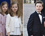 左起:西班牙小公主苏菲亚、莱昂诺尔,丹麦王子克里斯蒂安。(Getty Images/大纪元合成)
