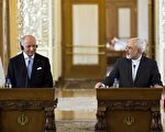 29日,法国外交部长法毕斯(左)与伊朗外长查瑞夫在德黑兰举行联合记者会。(AFP)