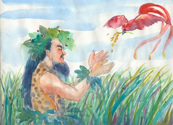 傳說中神農的行為感動了天地,於是派鳳凰銜著一枝九個頭的谷穗飛過神農頭頂,掉下谷粒,神農拾起種在田間。這種穀物顆粒大,味道甘美。(大紀元插圖)