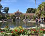 圖:加州聖地亞哥巴博亞公園植物館前的蓮花池。(楊婕/大紀元)