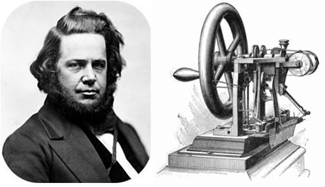 伊莱亚斯‧豪与他发明的缝纫机。(公共领域/大纪元合成)