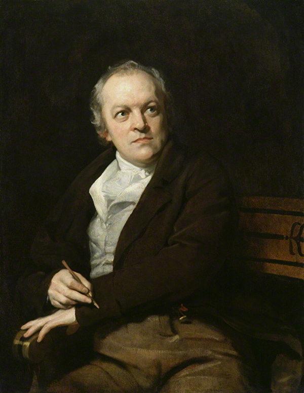 威廉‧布莱克画像,托马斯‧菲利普作。(维基百科公共领域)by Thomas Phillips, oil on canvas, 1807