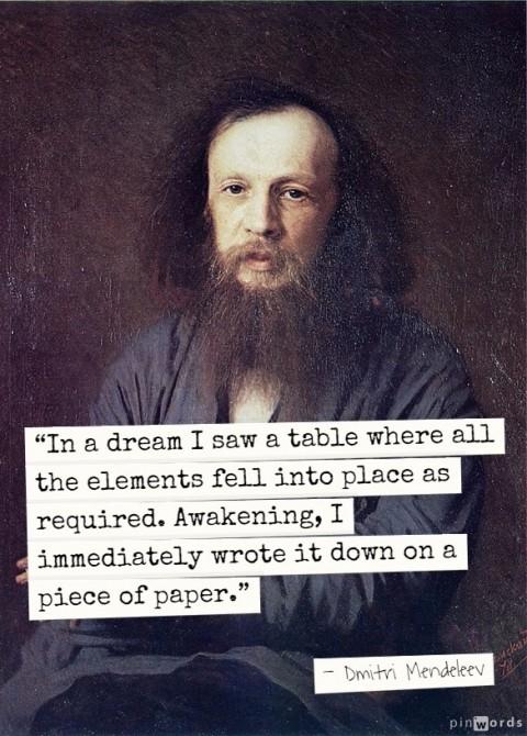 俄国化学家门捷列夫在梦中看到了元素周期表,当时已知的所有元素各居其位。(公共领域/大纪元制图)