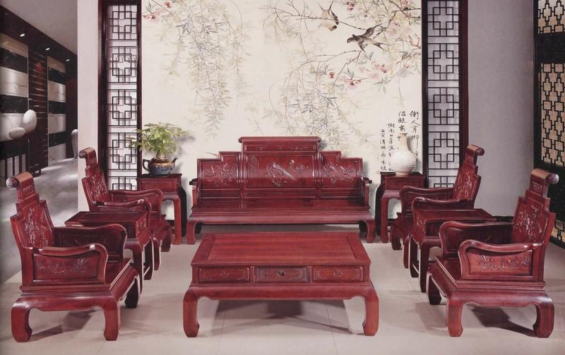 红木客厅套件,红酸枝所制。(圣荷西红木家具提供)