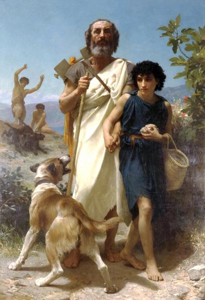 威廉‧阿道夫‧布格罗,《荷马和他的向导》,1874年作。(Art Renewal Center提供)