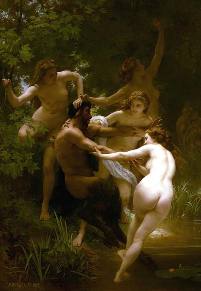 威廉‧阿道夫‧布格羅,《寧芙與薩提爾》,1873年作。(Art Renewal Center提供)