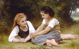 威廉‧阿道夫‧布格罗,《采集坚果者》,1882年作。布格罗用线条和明暗构思画面的能力,体现出他对绘画技艺的精湛把握。(Art Renewal Center提供)