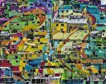 """2015年8月6日,墨西哥帕丘卡""""Las Palmitas""""山街区的大壁画,色彩缤纷。(OMAR TORRES/AFP)"""