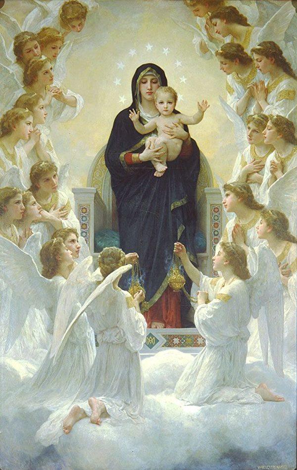 威廉‧阿道夫‧布格罗,《圣母与天使》(Regina Angelorum),1900年。(Art Renewal Center提供)